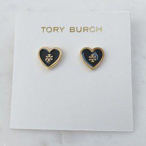 Tory Burch-black heart earrings